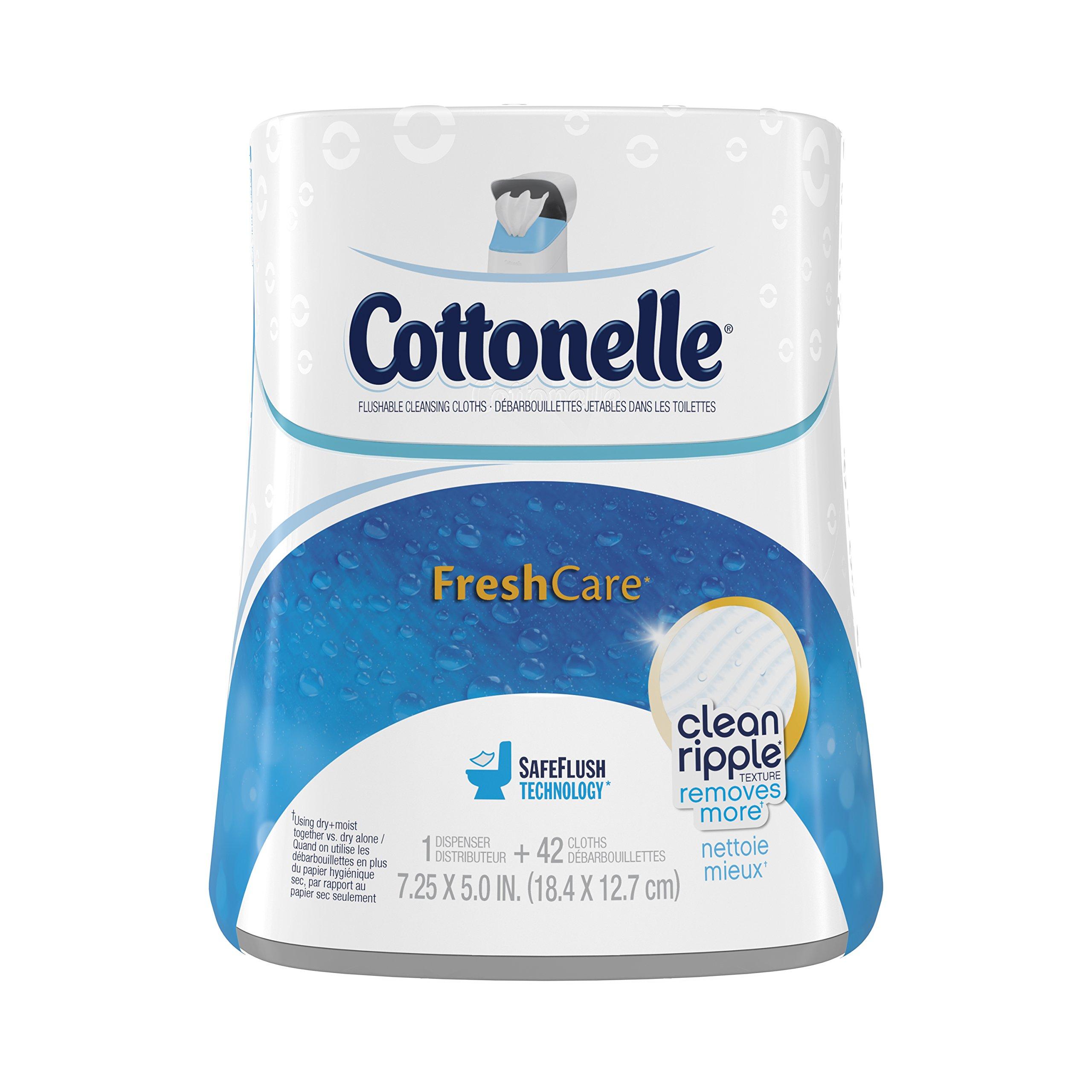 Cottonelle Fresh Care Flushable Cleansing Cloths Dispenser, 42 Count (Pack of 2) by Cottonelle