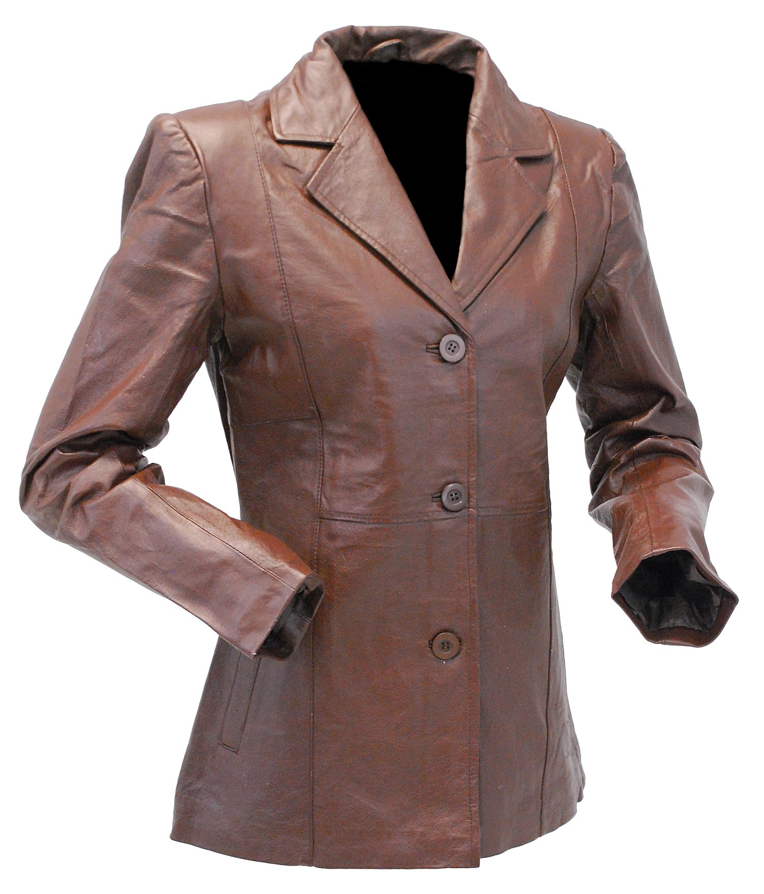 Jamin' Leather Brown Lightweight Women's 3 Button Leather Coat (L) #L31BTN