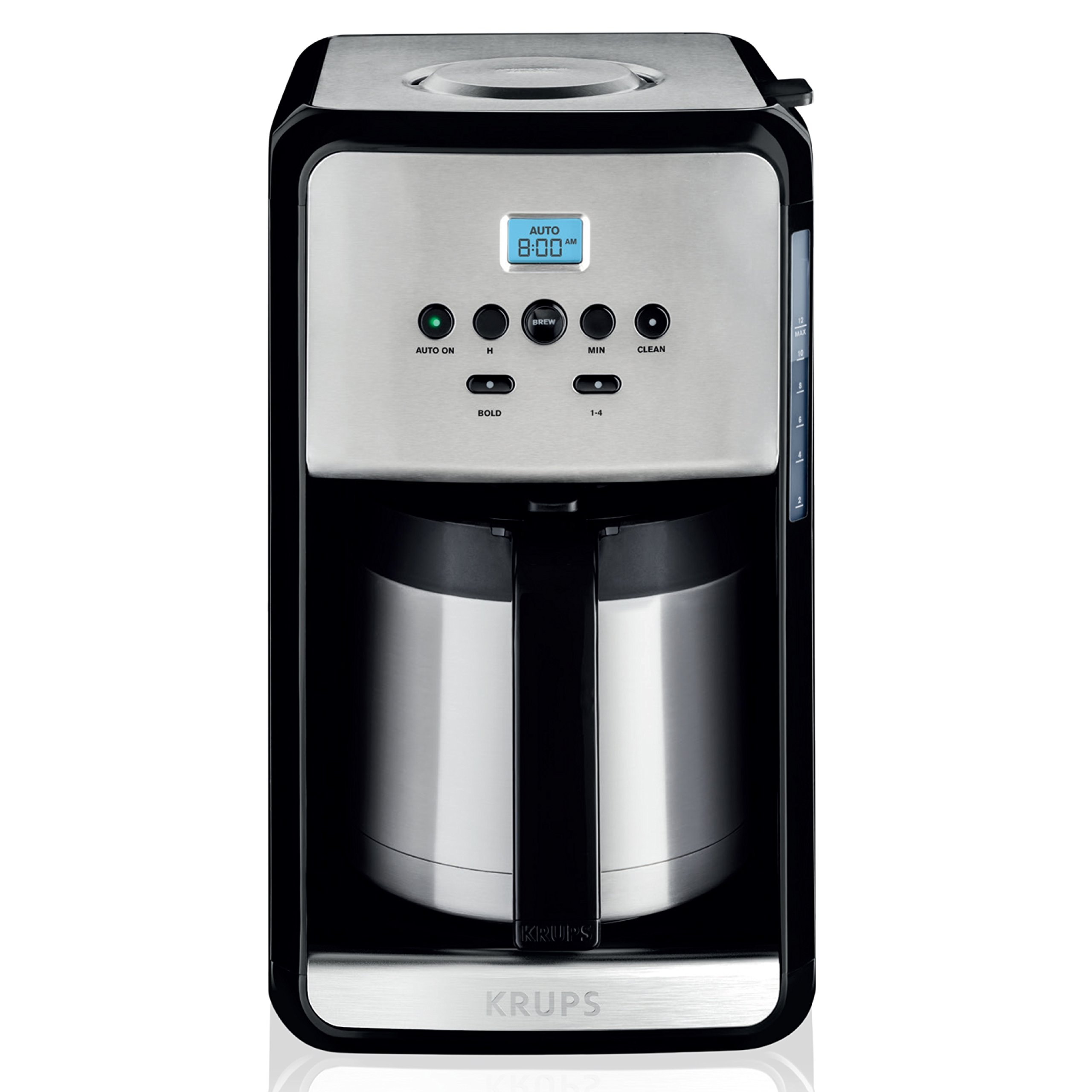 KRUPS ET3530 SAVOY Programmable Thermal, Gold Tone Filter Coffee Maker Machine with Bold and 1-4 Cup Function, 12-Cup, Stainless Steel Carafe (Stainless Steel)