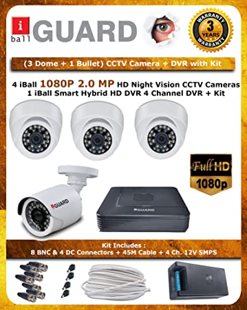 iBall CCTV FULL HD 1080P 2.0 MP HD 4 CCTV Cameras With 4 Channel HD DVR - Kit Includes ( 3 Dome + 1 Bullet + HD DVR + CCTV SMPS + 8 BNC + 4 DC Connectors + 45 Meter Cable ) Dome Cameras at amazon