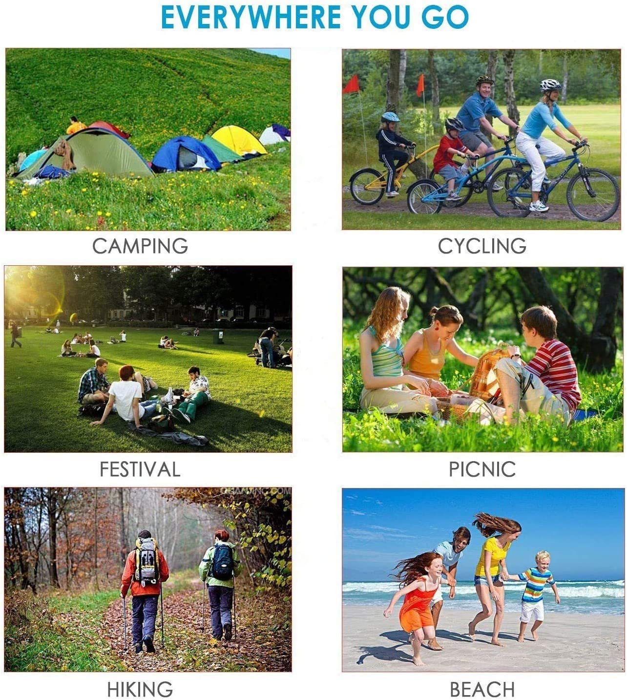 4 Fixed Piles+1 Metal Buckle Portable Sandfree Beach Blanket Waterproof Picnic Blanket Oversized 83X78for 5-7 Adults Beach Mat Outdoor for Travel,Camping,Hiking and Music Festivals
