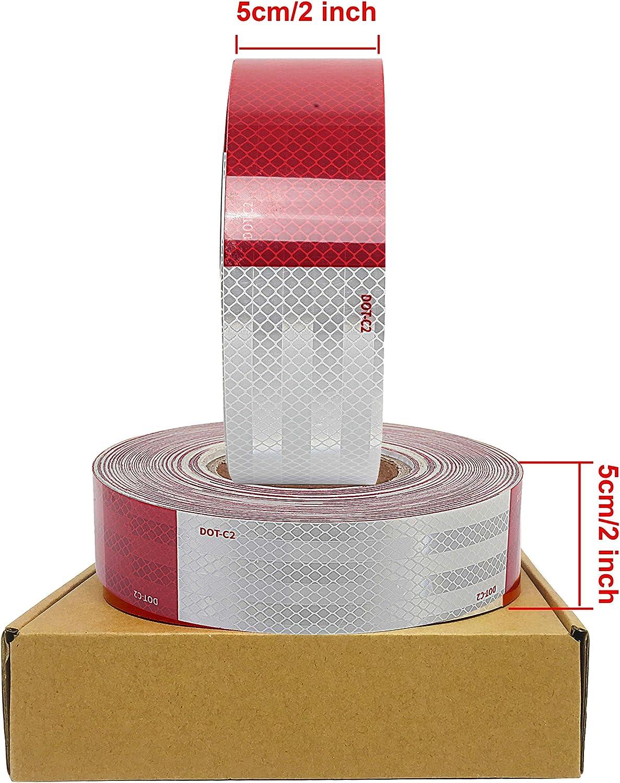 Durable y sin residuos para autom/óviles//Bicicletas//Casco Rollo de Cinta Reflectante Adhesiva de Seguridad de 2 Pulgadas x 9.8 pies etc. 6 Colores Opcionales Cinta de Visibilidad Impermeable