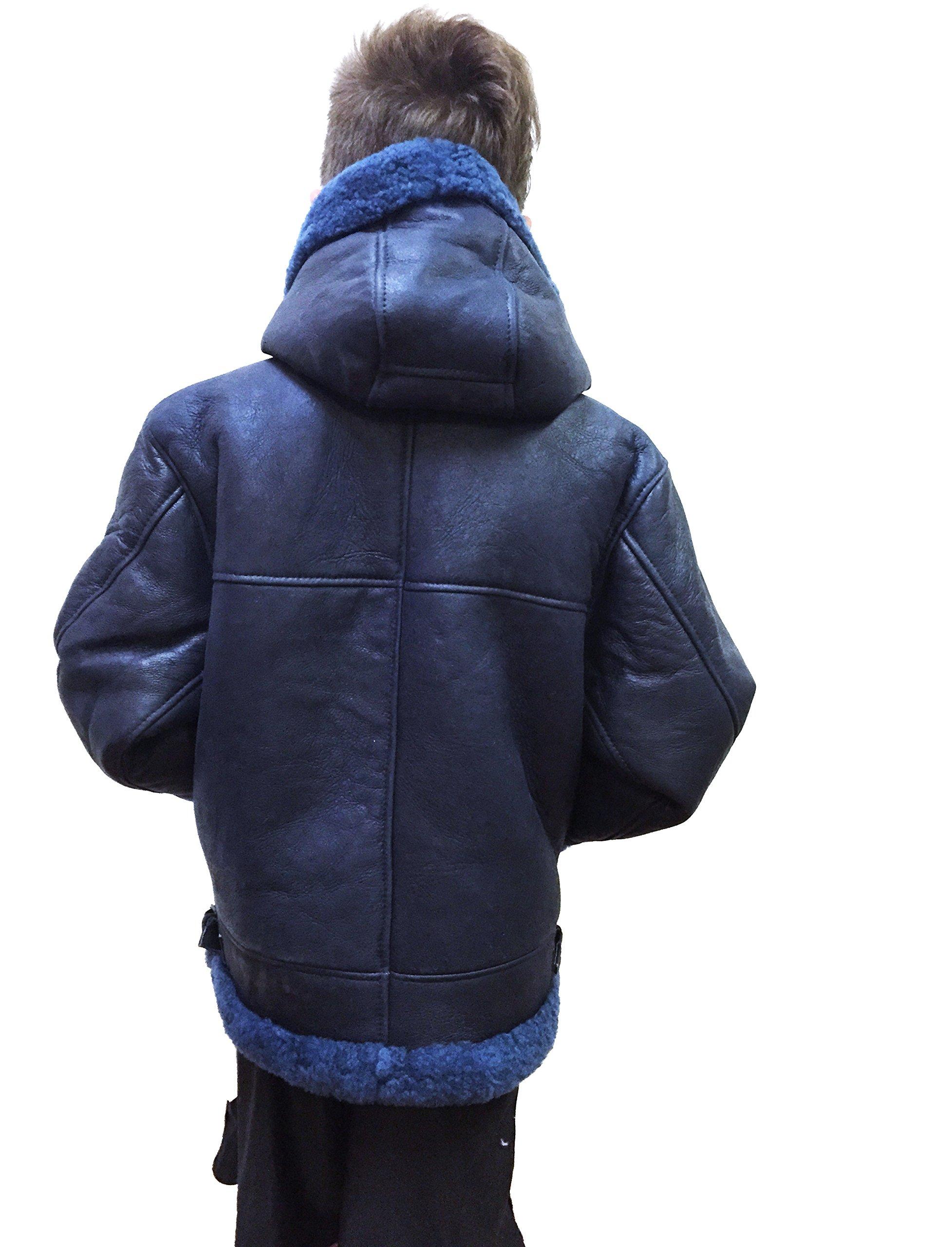 Kids B-3 Genuine Shearling Leather Bomber Jacket Winter Aviator Coat Real Fur Hood (Size 6, Navy/Fur) by Jakewood (Image #2)
