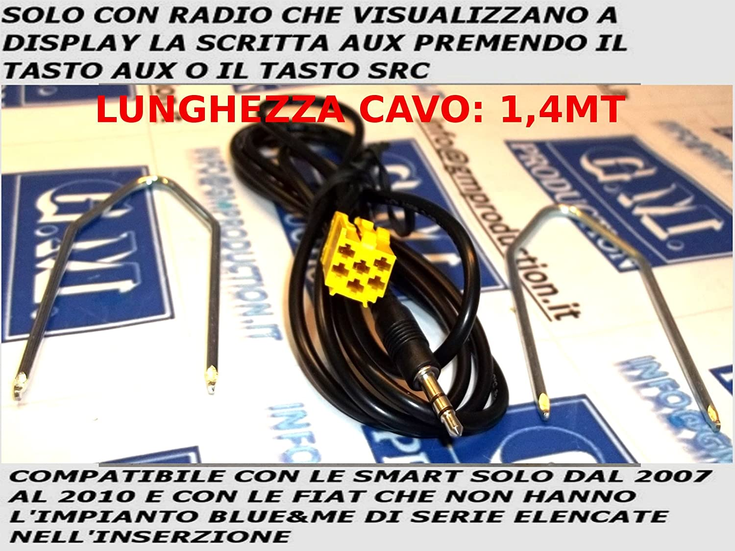 G.M. Production - KIT191G - Cavo Autoradio di Serie Solo con Aux a Display Disponibile con Chiavi Sgancio Radio a Corredo 191G KIT
