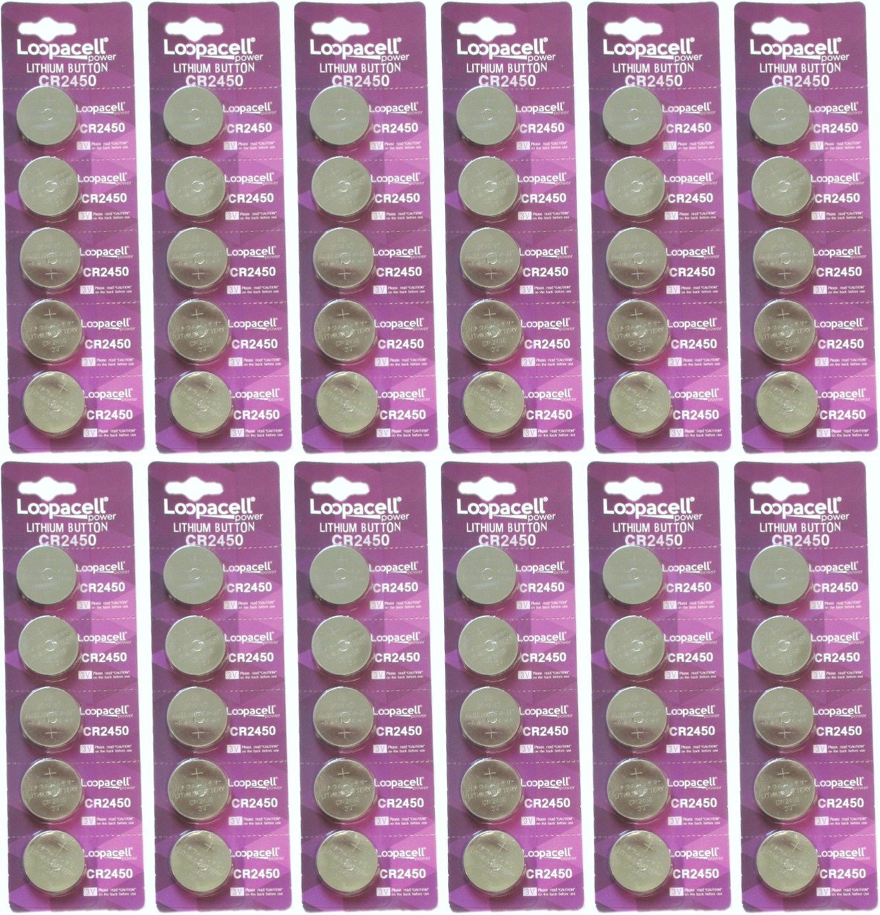 60 Pcs 2450 Batteries (CR2450/ DL2450/ E-CR2450) Lithium 3v (12 Packs of 5) by Loopacell by LOOPACELL