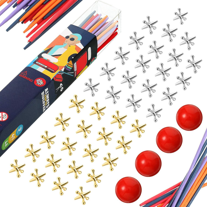 4 Kits de Juguetes de Juego Jacks con Palos de Recoger, Incluyen 4 Pelotas Goma Roja, 40 Jackses Metal Oro Plata, 41 Palos con Bolsa de Almacenamiento para Adolescente Adulto Juego Fiesta