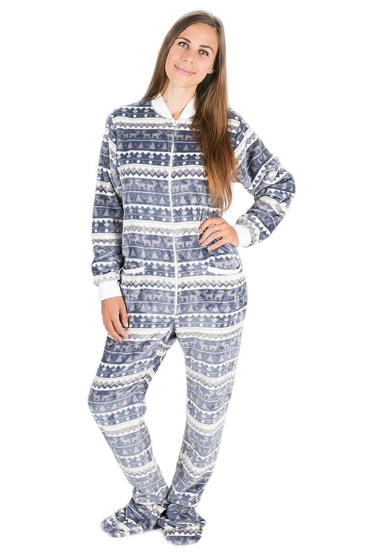 Kajamaz Navidad Plateada: Pijama con Pies para Adultos, Pijama Entero para Adultos, Pijama Entero De Lana Unisex con Renos, árboles De Navidad, ...