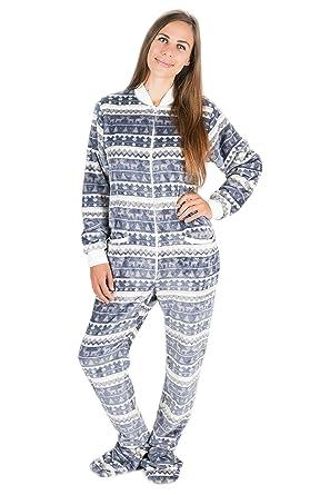 00c5a69ae6 Kajamaz Silber-Weihnacht Strampler für Erwachsene mit Füßlingen,  Einteiliger Schlafoverall aus Fleece, Einteiler