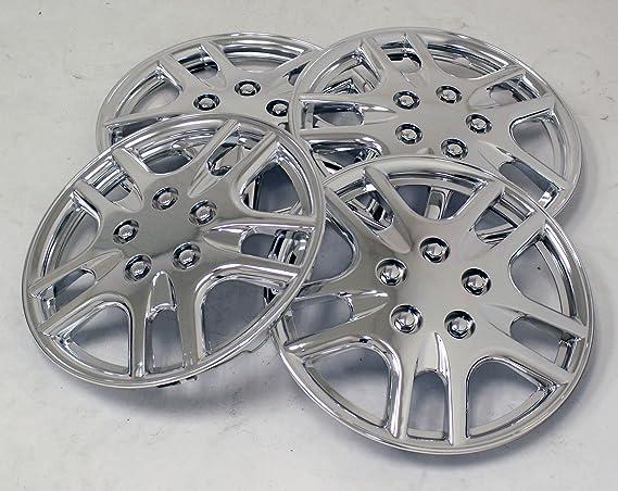 tuningpros wsc-523 C15 cromo Tapacubos rueda Skin Cover 15-inches plata conjunto de 4: Amazon.es: Coche y moto
