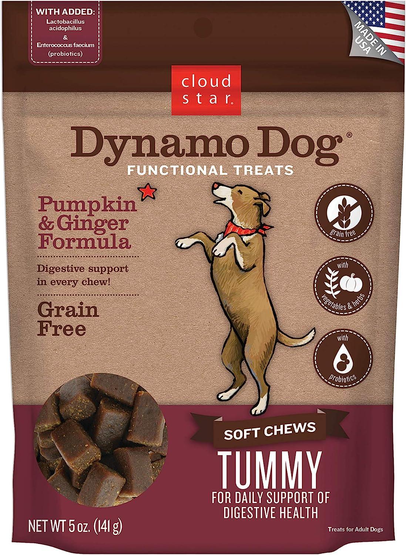 Cloud Star Dynamo Dog Functional Treats - Tummy - Pumpkin & Ginger - 5 oz (20210)