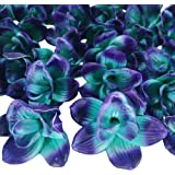 """Lily Garden Big Orchids Flower Head Blue and Purple Cymbidiums Hybridum 5"""" Real Touch Artificial Flowers Wholesale 24pcs"""