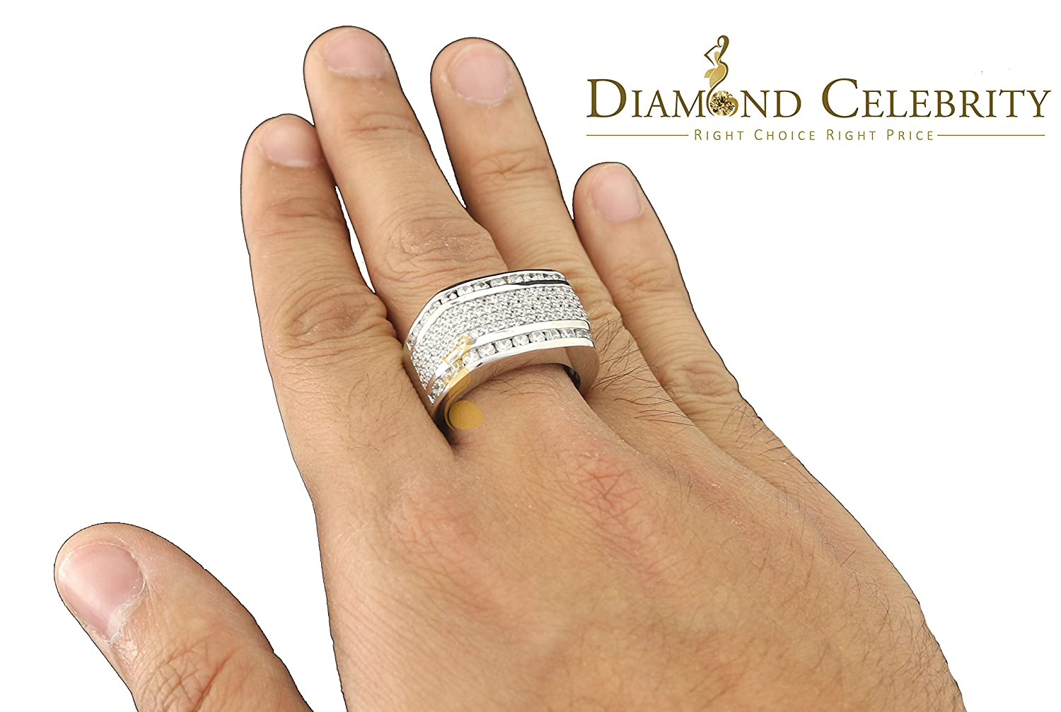 Diamond 10K White Gold Finish W//Lab Created Ice Out Silver Mens Ring Size 10
