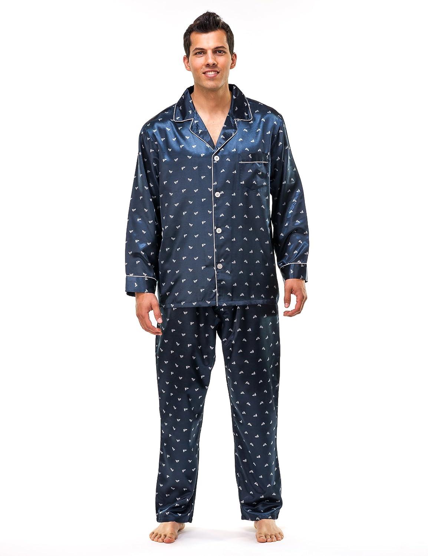 Noble Mount para hombre Premium Satin pijamas de pijama - Juego de barco azul marino - Grande: Amazon.es: Ropa y accesorios