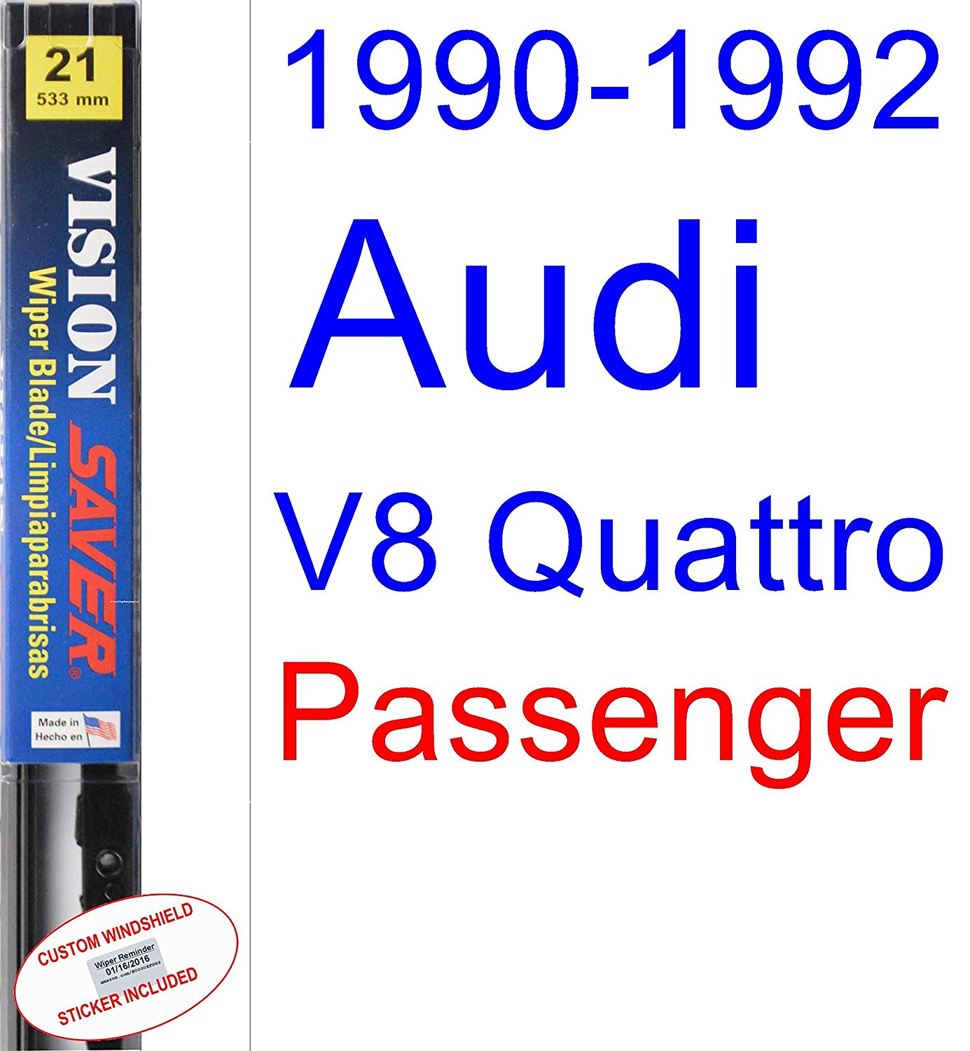Amazon.com: 1990-1992 Audi V8 Quattro Wiper Blade (Driver) (Saver Automotive Products-Vision Saver) (1991): Automotive