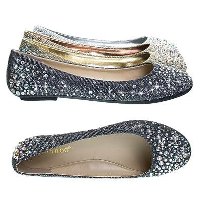 2e3dd0826a76 Clore10 Pewter Women's Round Toe Ballet Flats with Iridescent Rhinestone  Studs on Glitter Vamp -5.5