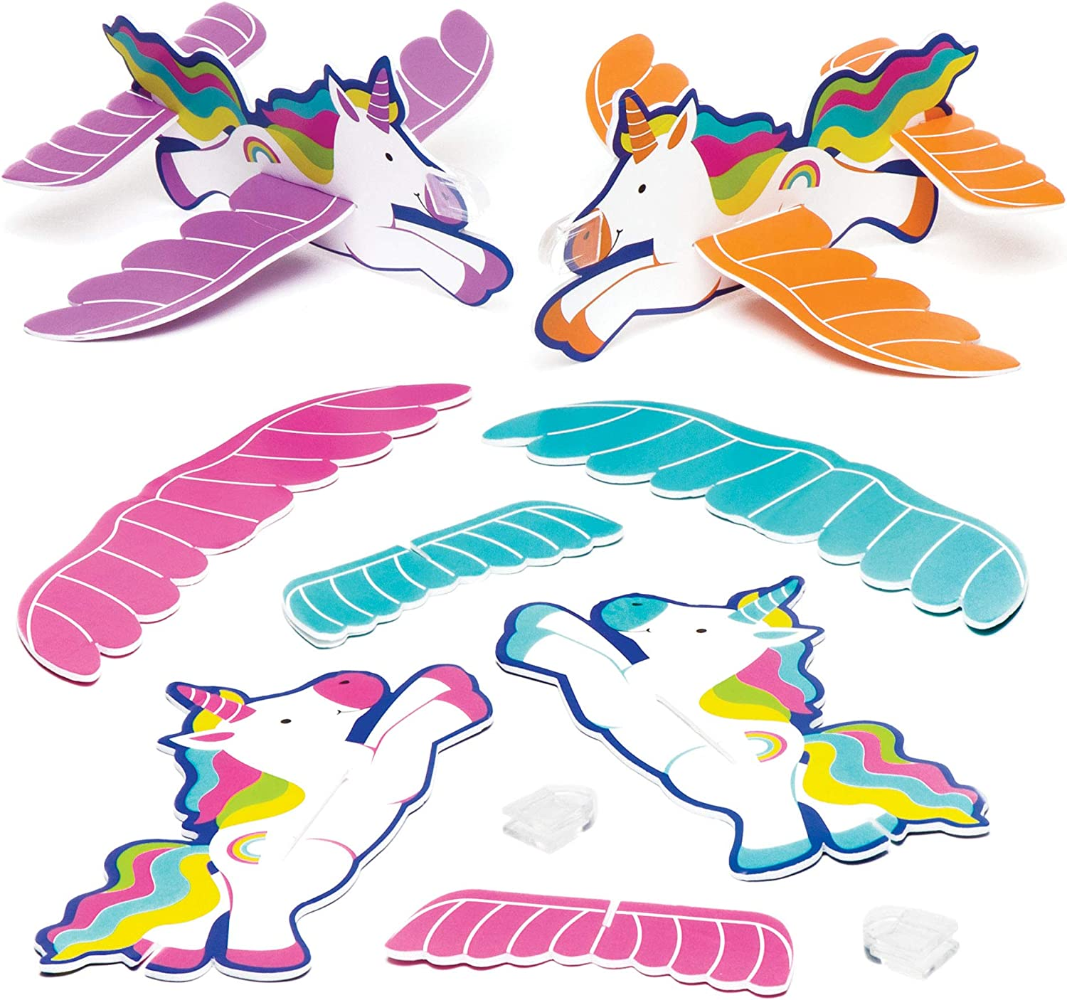 UNICORN FLYING GLIDERS PARTY BAG FILLERS-4 assorted designs-1,4,8,12,16,20,24