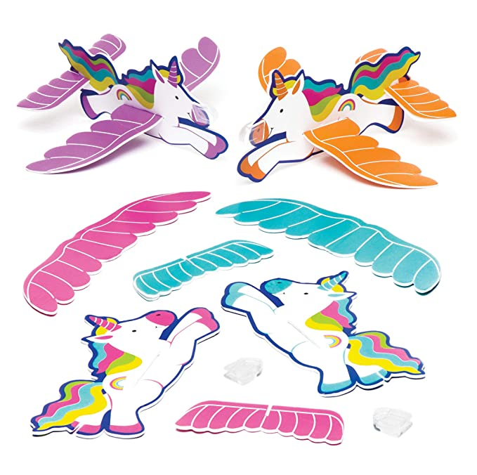 Baker Ross Rainbow Unicorn Gliders (Pack of 8) Throwing Airplane Toys Perfect for Kids