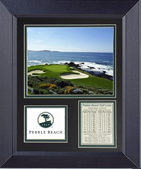 Amazon.com: Pebble Beach 7th Hole Framed Golf Wall D?cor Art 14 x 17 ...