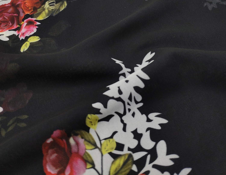 Finoceans Womens Floral Chiffon Kimono Cardigans Loose Beach Cover Up Half Sleeve Tops