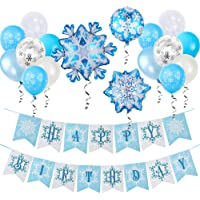 Snowflake Frozen Happy Birthday Banner Balloons Decorations for Girls Birthday Frozen Party Snow Winter Snowflake…