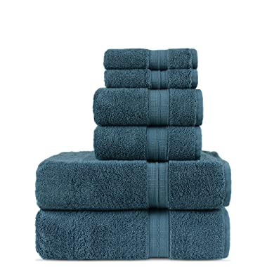Luxury Premium Turkish Cotton 6-Piece Towel Set, Long-Stable 20/2, 2 Ply Turkish Ring-Spun Cotton Yarn Makes The Luxe-Factor, Eco-Friendly, (True Blue)