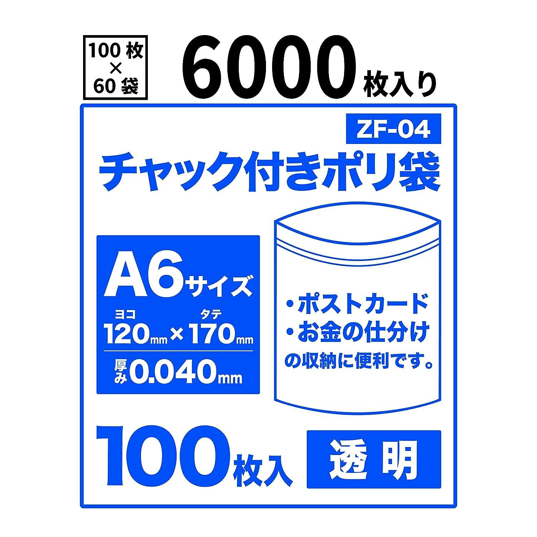 チャック付きポリ袋A6サイズ【6000枚入り】 0.04mm厚【BedwinMart】 B07916RBDG  6000枚