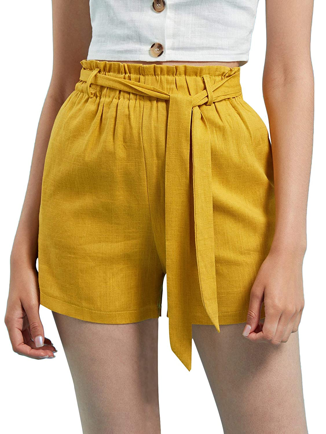 Yellow Floerns Women's Slim Casual Cropped Paper Bag High Waist Pants with Pockets