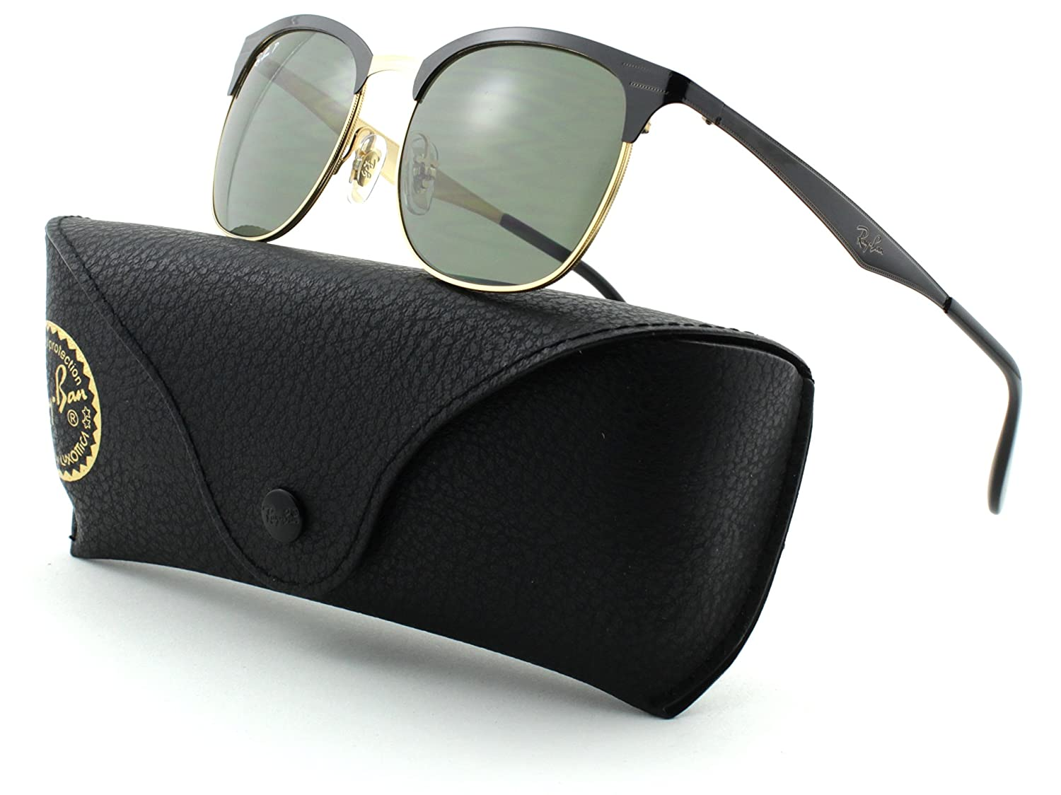 5a51729d82 Amazon.com  Ray-Ban RB3538 Metal Shiny Black on Gold Frame Dark Green  Polarized Lens 187 9A