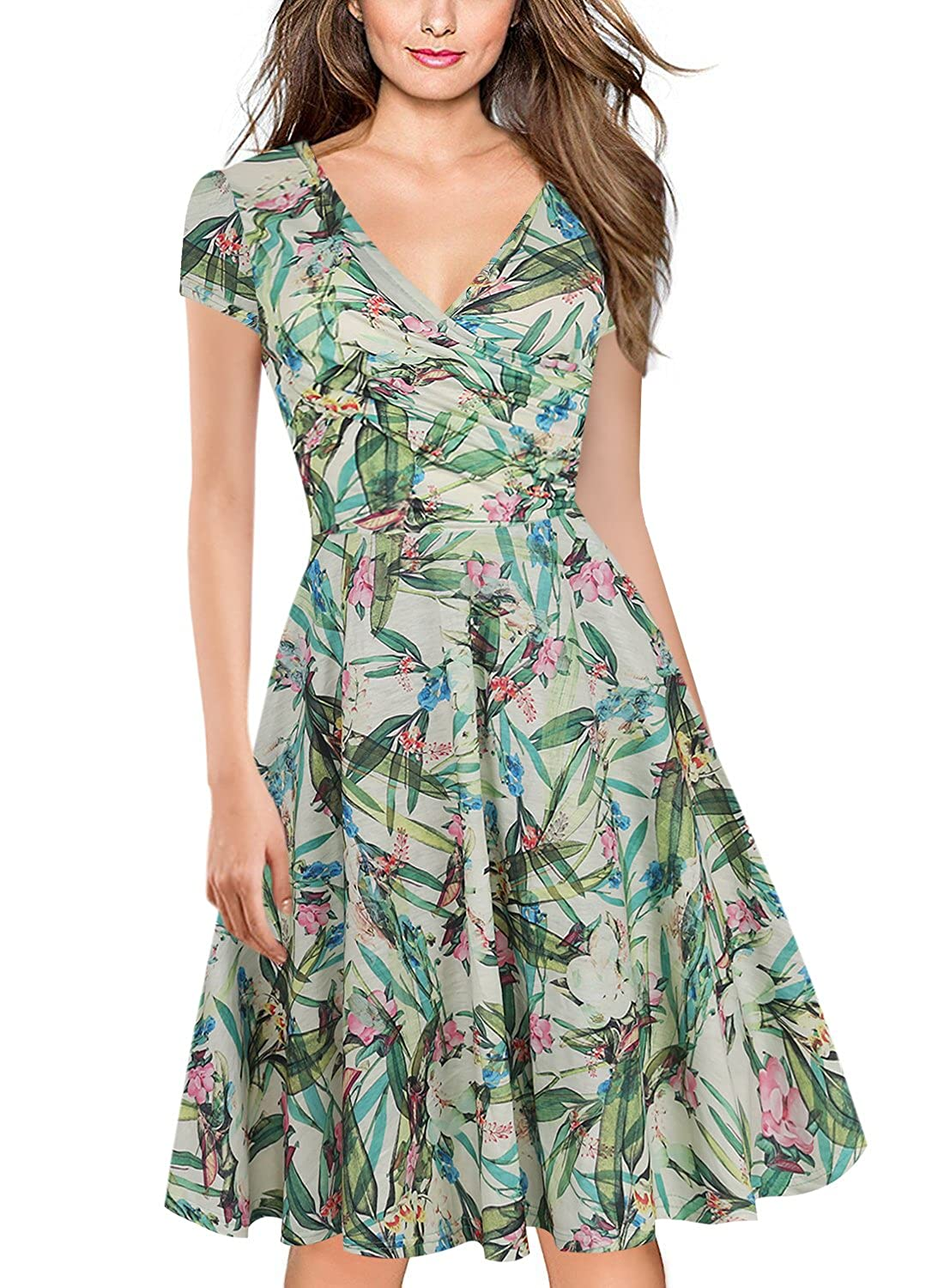 Green Print Naive Shine Women's Cap Sleeve VNeck Swing Summer Casual Dress