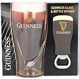 Official Guinness Embossed 450ml Glass and Bottle Opener