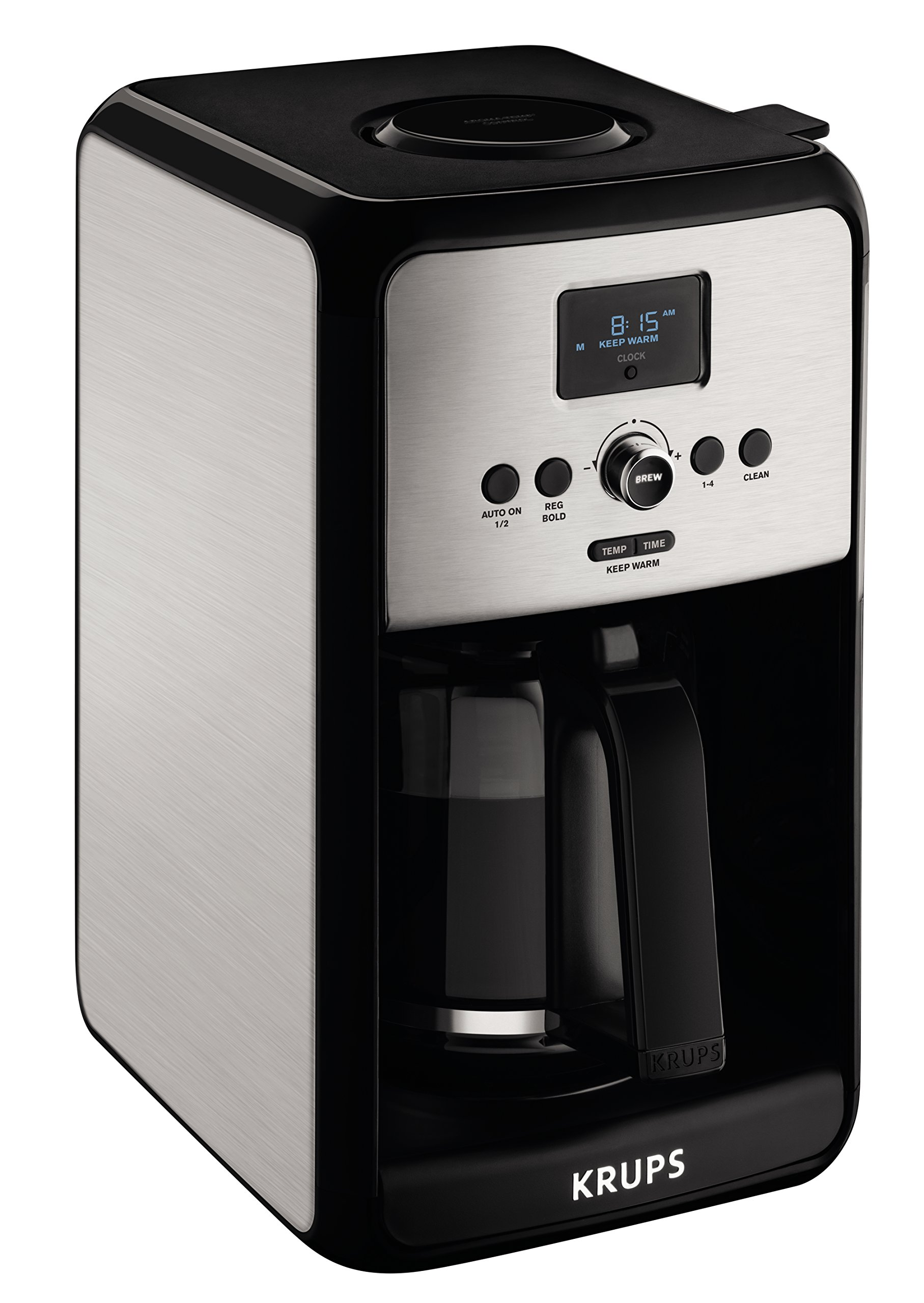 KRUPS EC314050 Programmable Digital Coffee Maker Machine with Stainless Steel Body and LED Control Panel,12-Cups, Silver