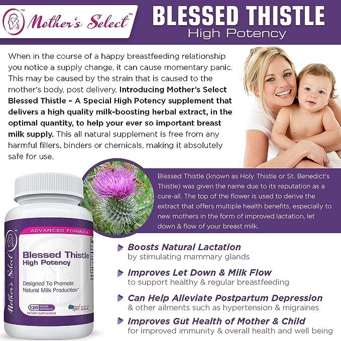 Mothers Select - Suplemento para la lactancia de Mothers Select con cardo bendito, cápsulas veganas de alta potencia que fomentan un incremento de la ...