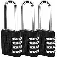 munloo Candado Combinacion 3 Piezas, Candado de Seguridad Extendido, 4-Dígitos, light padlock para Puerta de Verja…