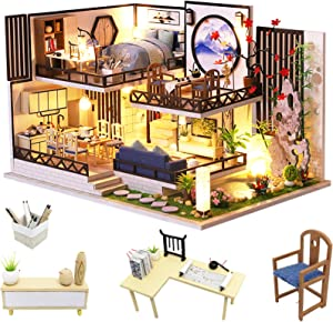 Spilay DIY Dollhouse Miniature with Wooden Furniture,Handmade Modern Chinese Style Loft,Home Craft Model Mini Kit with Dust Cover & LED,1:24 Scale Creative Doll House Toys for Adult Teenager Gift