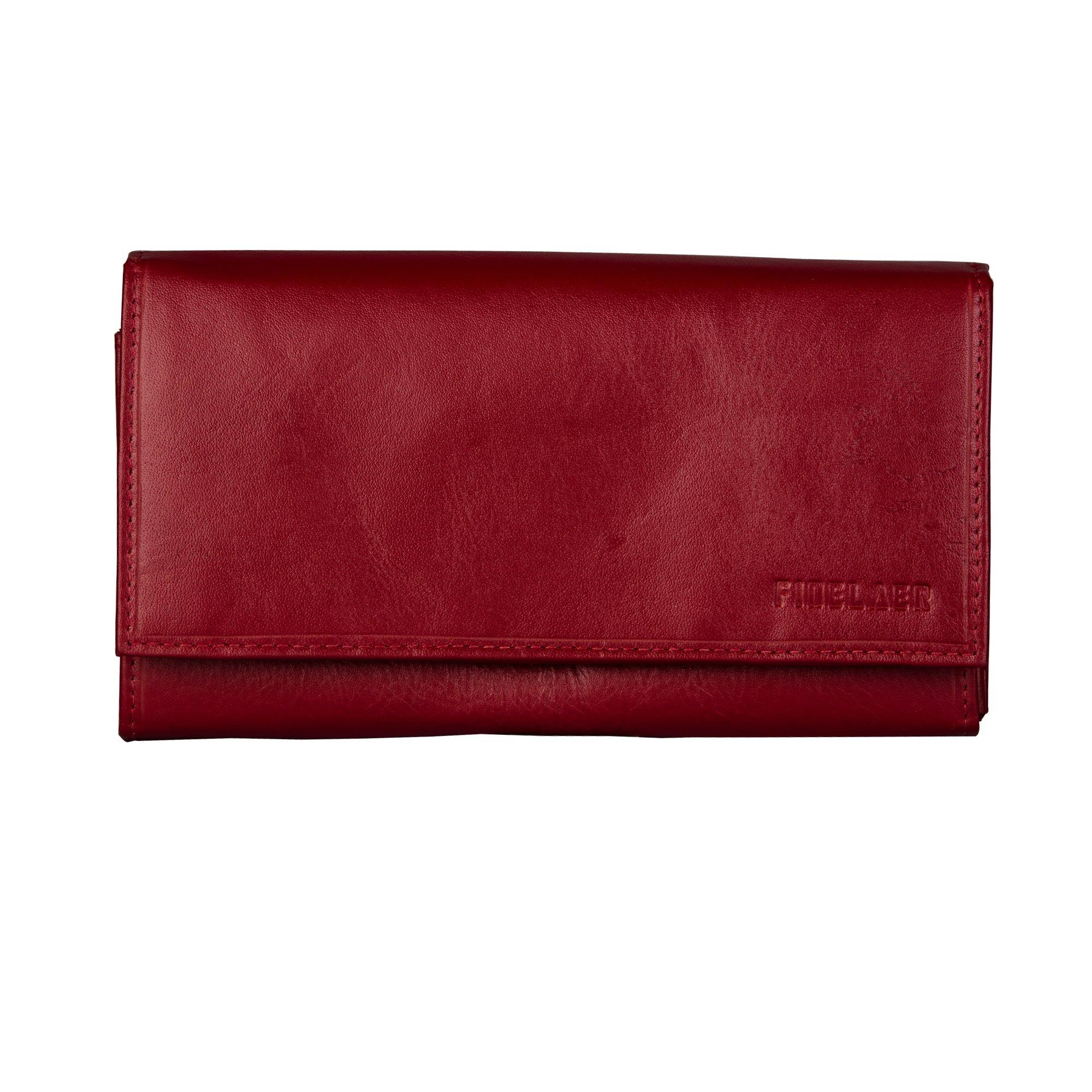 Women Leather Clutch Purse Envelope Wallet Red Bag Snap On 1 ID 5 Card 6 Cash Slots | Finelaer
