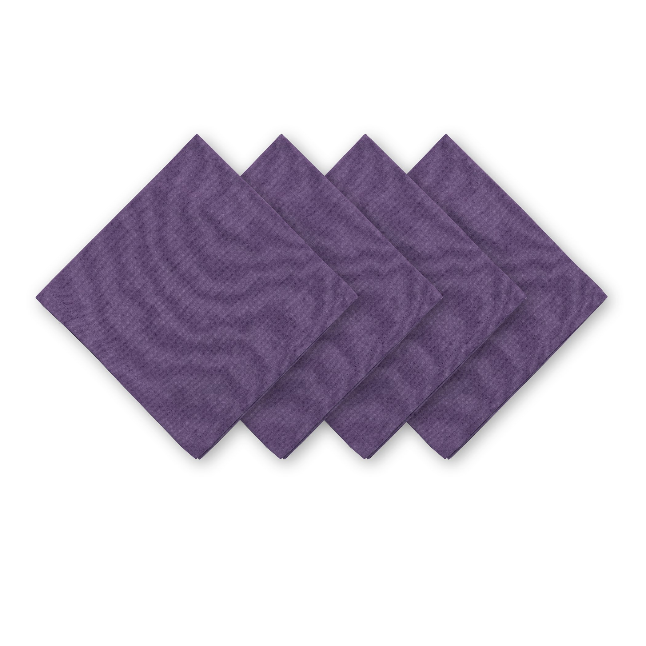 Elrene Home Fashions Stone Washed Solid Purple Restaurant Hotel Quality Oversize Cotton Casual Cloth Napkins,Purple,20'' X 20'' (Set of 24)