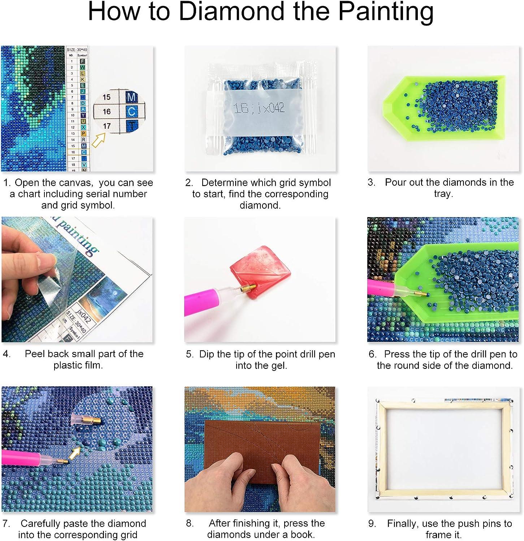 ufengke Vogel 5D Diamant Malerei Set Mosaik DIY Diamond Painting nach Zahlen Kreuzstich Stickbilder mit Holzkeilrahmen Design 25x35cm