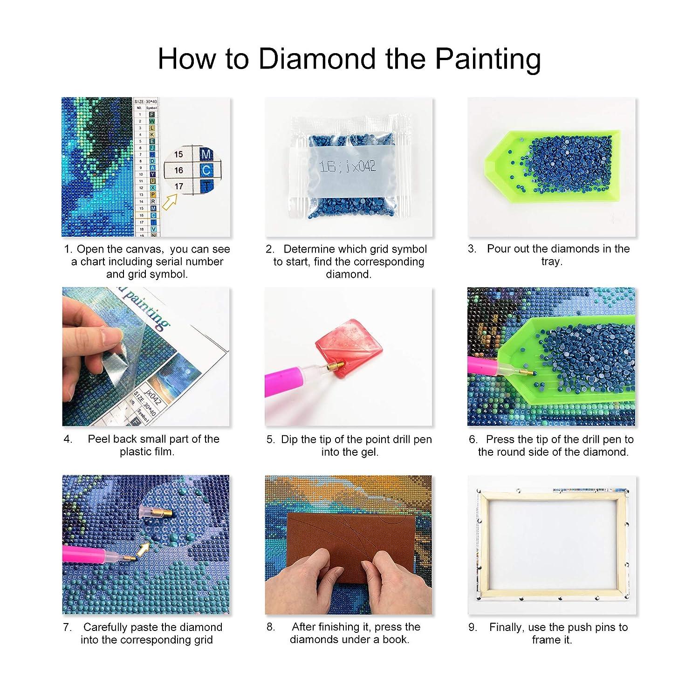 Dise/ño 25x35cm ufengke Kit Pintura de Diamantes 5D B/úho Azul Punto de Cruz Diamante Completo DIY para Amantes del Arte con Marco de Madera