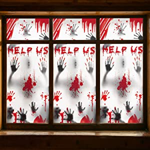 Halloween Window Decorations Zombie Posters - 3 Pcs Giant Bloody Handprints Zombie Silhouettes, Creepy Window Treatment Wall Decor Door Covers for Halloween Scary Haunted House Party Decorations