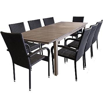 Gartentisch ausziehbar polywood  Amazon.de: 9tlg. Gartengarnitur Gartentisch 200/250x95cm ...