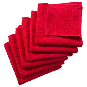 """DII Cotton Terry Windowpane Dish Cloths, 12 x 12"""" Set of 6, Machine Washable and Ultra Absorbent Kitchen Bar Towels-Solid Red"""