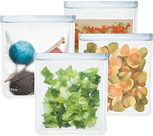 rezip Lay-Flat Gallon Leakproof Reusable Storage Bag 4-Pack