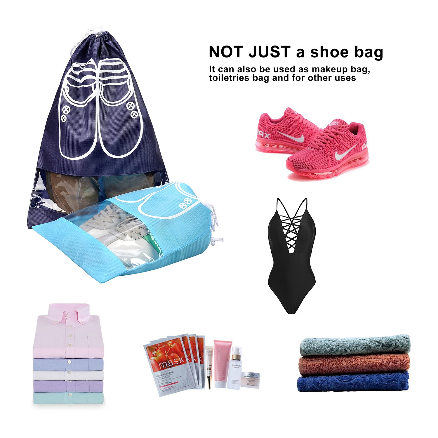 10 Pcs Travel Dust-proof Shoe Bags with Drawstring and Transparent Window Shoe Organizer Space Saving Storage Bags(5pcs XL and 5pcs L) by TGbranch (Image #8)