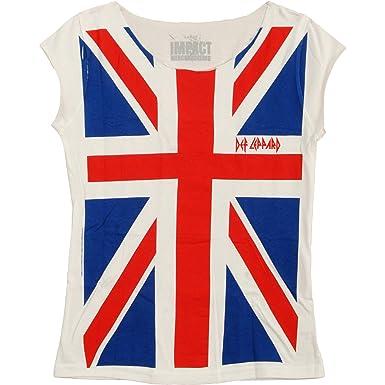 7220f8fc Amazon.com: Def Leppard - Union Jack Women's Cut Tee Vintage White ...