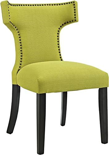 Modway Curve Mid-Century Modern Upholstered Fabric with Nailhead Trim in Wheatgrass, One Chair