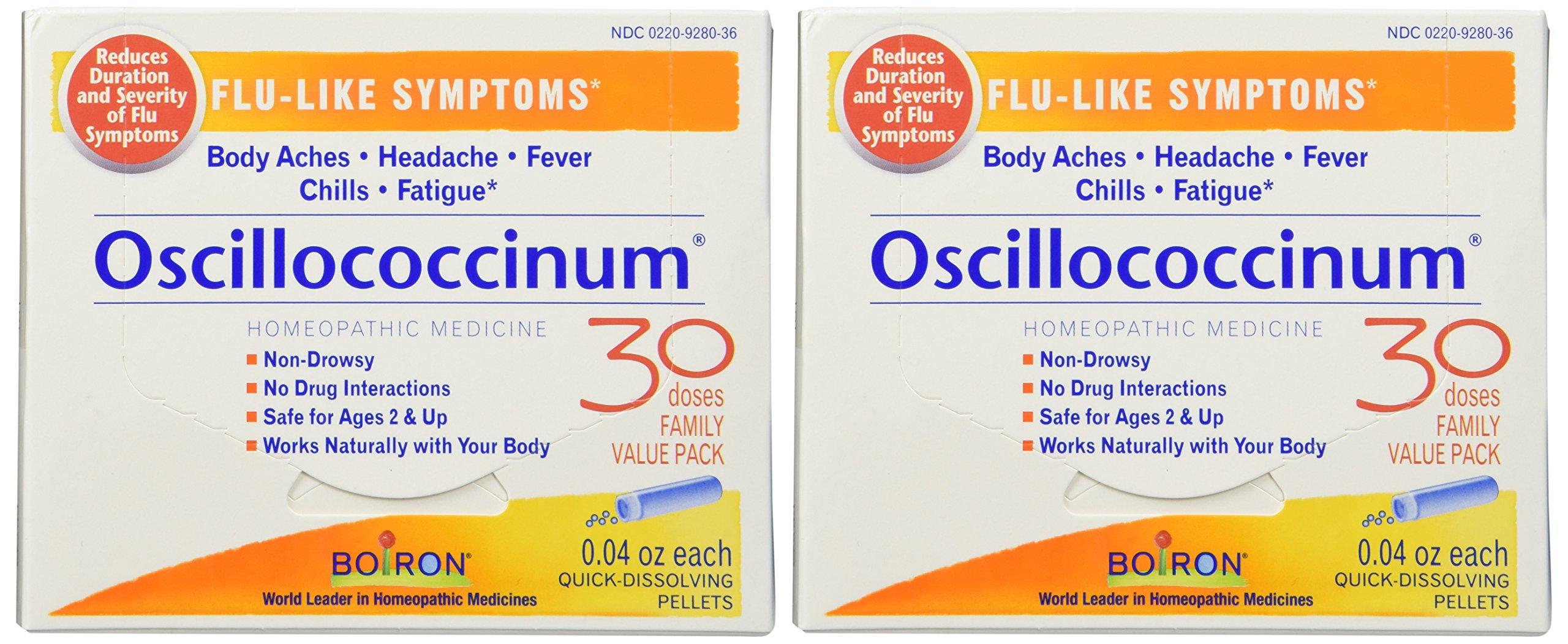 Boiron Oscillococcinum for Flu-like Symptoms Pellets, 30 Count (2 Pack)