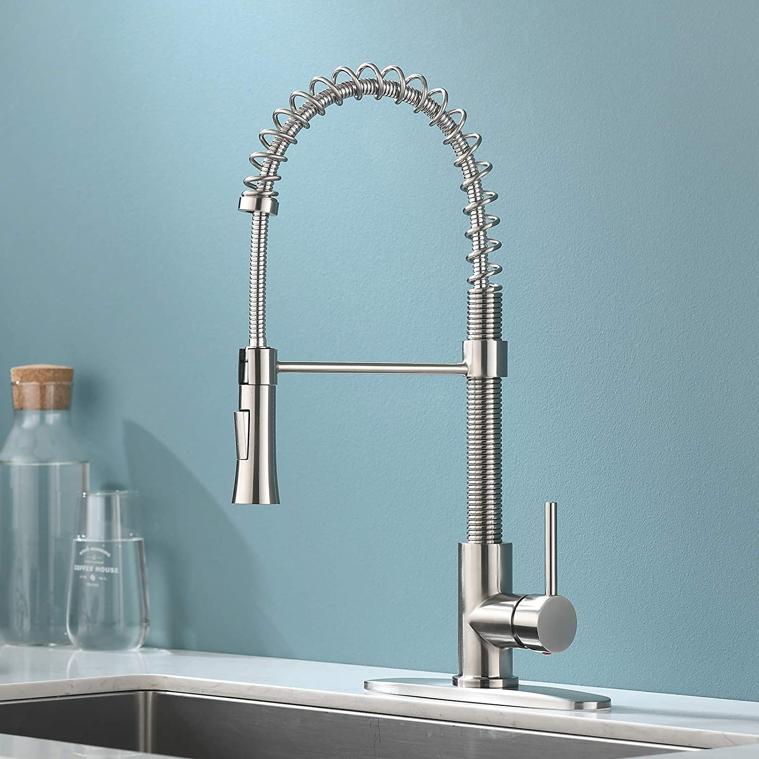 KINGO HOME Farmhouse Brushed Nickel Spring Kitchen Faucet with Pull Down Sprayer, Commercial Stainless Steel Single Lever Handle Kitchen Sink Faucet with Deck Plate