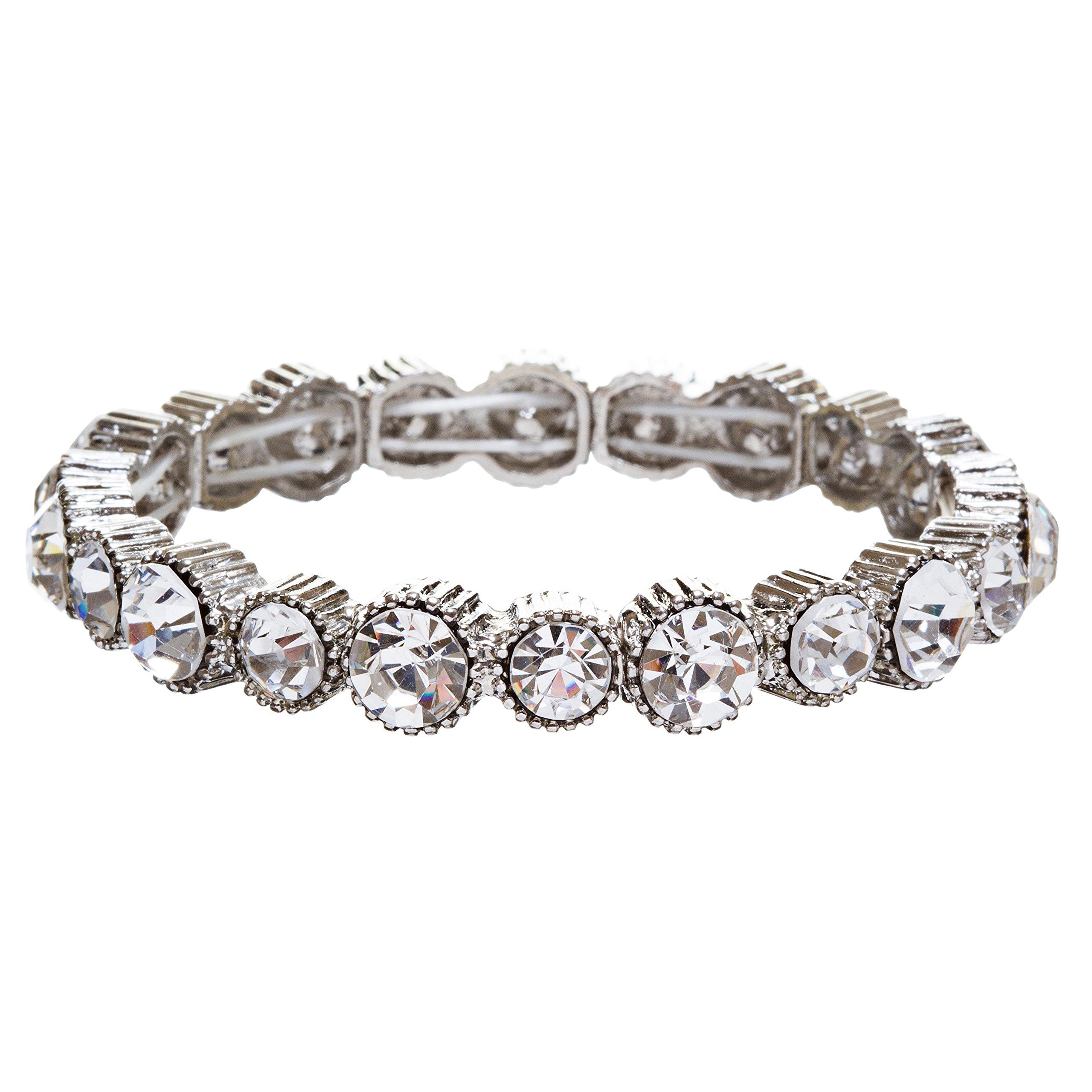 ACCESSORIESFOREVER Women Bridal Wedding Jewelry Crystal Rhinestone Simple Yet Elegant Bracelet B308 SV by Accessoriesforever (Image #1)