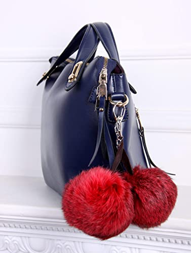 Amazon.com  Real fur Fluffy Ball Pom pom Keychain Handbag Key Ring for Car  Red  Handmade 48d254fe04b64
