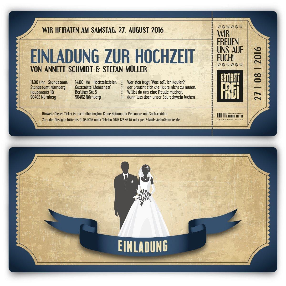 Einladungskarten zur Hochzeit (20 Stück) als Eintrittskarte im ...